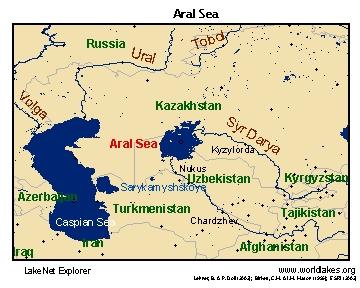 Где находится море аральское на карте