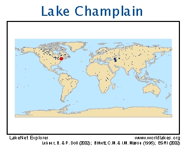 LakeNet Lakes - Us map lake champlain