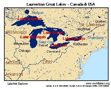 LakeNet Lakes - Usa map great lakes