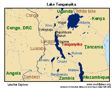 Lake Tanganyika On A Map Of Africa.Lakenet Lakes