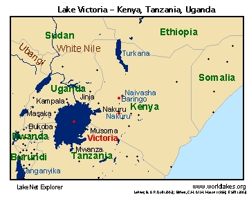 Lake Victoria On Map Of Africa.Lakenet Lakes